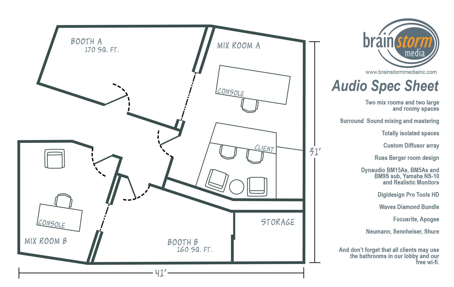 Gallery brainstorm media inc audio studio specs production studio specs malvernweather Gallery